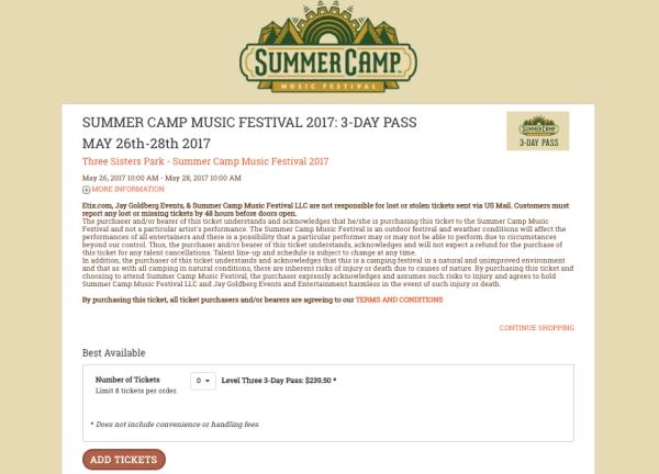 Summer Camp Music Festival Cobranding